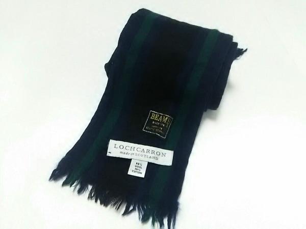 LOCHCARRON(ロキャロン) マフラー美品  ネイビー×黒×グリーン ストライプ/BEAMS