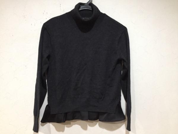ニジュウサンク 長袖セーター サイズ32 XS レディース新品同様  ダークグレー×黒