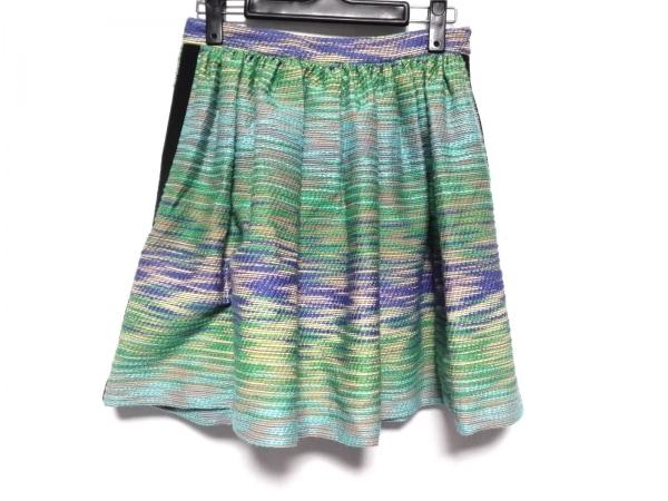 MSGM(エムエスジィエム) スカート サイズ40 M レディース美品  グリーン×マルチ