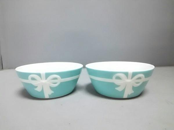 TIFFANY&Co.(ティファニー) 食器新品同様  ブルーボウ ライトブルー×白 陶器