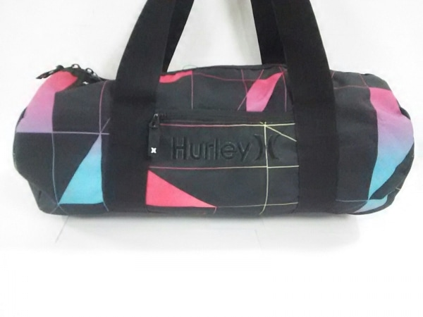 Hurley(ハーレー) ボストンバッグ 黒×マルチ ナイロン