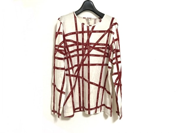HERMES(エルメス) 長袖Tシャツ サイズLA メンズ 白×ボルドー ボルデュックリボン柄