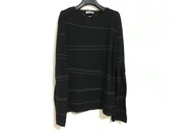 サルバトーレフェラガモ 長袖セーター サイズL レディース 黒×アイボリー 薄手