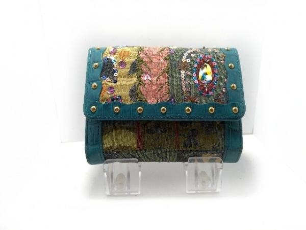 ジャストハート 3つ折り財布美品  ダークグリーン×エメラルドブルー×マルチ