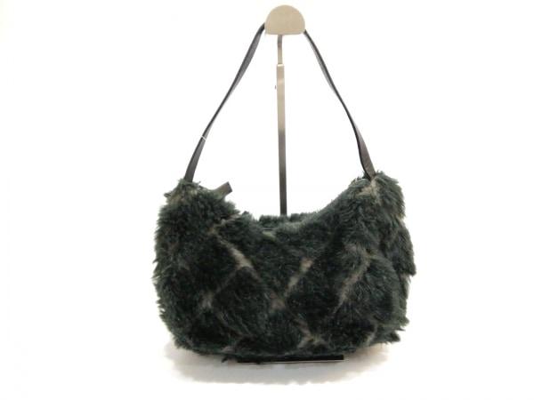 サマンサタバサ ハンドバッグ ダークグリーン×黒 天然繊維×レザー
