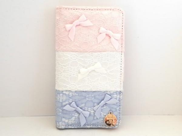 Maison de FLEUR(メゾンドフルール) 携帯電話ケース美品  ピンク×白×ライトブルー
