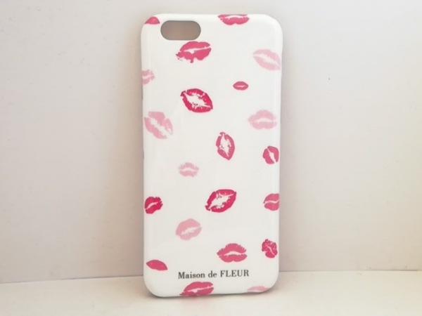 Maison de FLEUR(メゾンドフルール) 携帯電話ケース 白×ピンク プラスチック