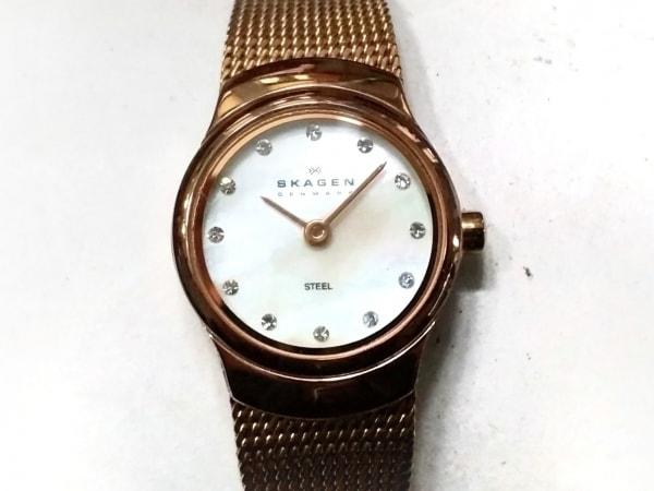 スカーゲン 腕時計 502XSRR レディース シェル文字盤/ラインストーン 白×マルチ