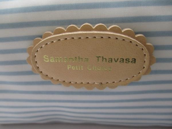 サマンサタバサプチチョイス ポーチ 白×ライトブルー×ベージュ ボーダー