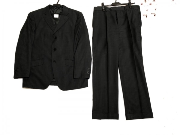 FICCE(フィッチェ) シングルスーツ メンズ 黒×グレー ストライプ/ネーム刺繍