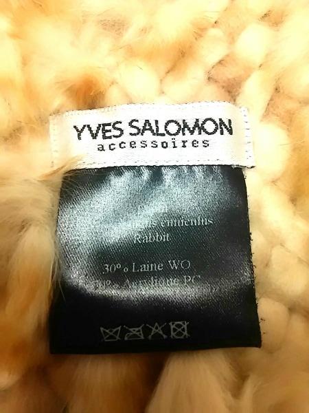 yves salomon(イヴサロモン) マフラー美品  ベージュ アクリル×ウール×ラビット