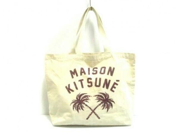 MAISON KITSUNE(メゾンキツネ) トートバッグ アイボリー×ボルドー コットン