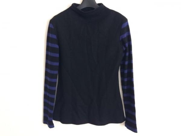 アリスアウアア 長袖セーター サイズ2 M レディース 黒×ブルー ハイネック/ボーダー