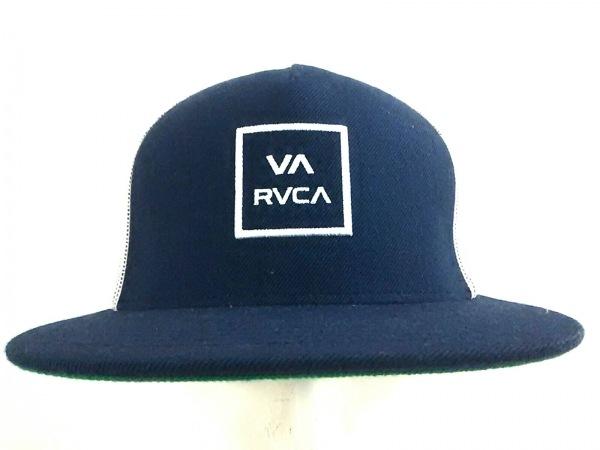 RVCA(ルーカ) キャップ ネイビー×白 刺繍/メッシュ アクリル×ナイロン×ウール