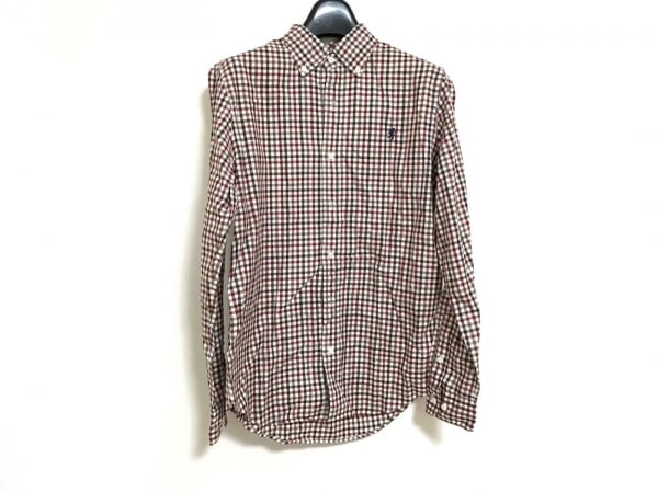 ジムフレックス 長袖シャツ サイズ14 メンズ美品  アイボリー×ブラウン×レッド