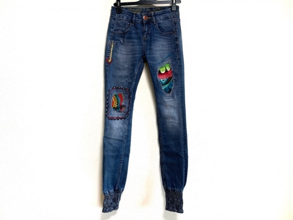Desigual(デシグアル) ジーンズ サイズ24 レディース ブルー ダメージ加工/刺繍