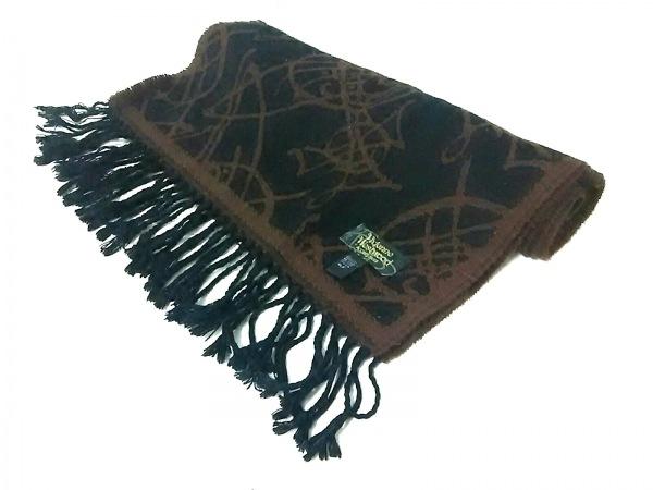 ヴィヴィアンウエストウッドアクセサリーズ マフラー 黒×ブラウン 化学繊維