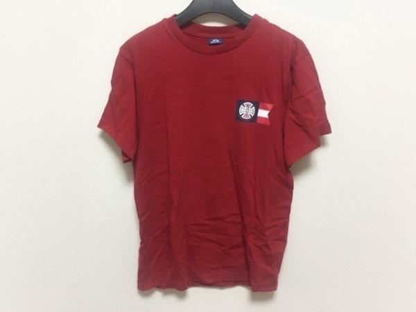 INDEPENDENT(インディペンデント) 半袖Tシャツ サイズM メンズ レッド×ネイビー×白