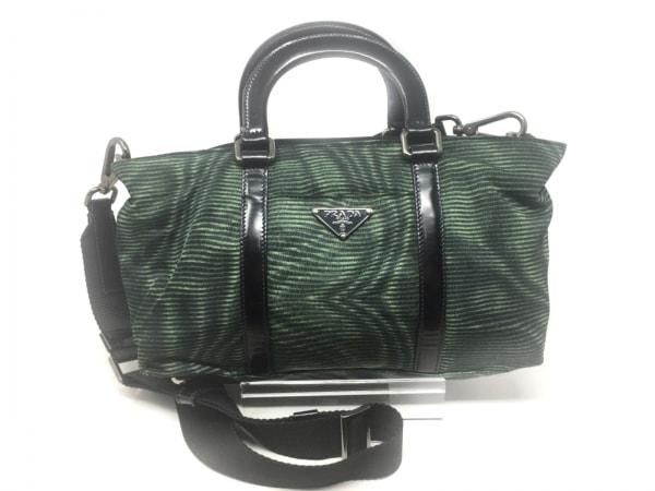 PRADA(プラダ) ハンドバッグ美品  - BN1052 グリーン×黒 ナイロン×レザー
