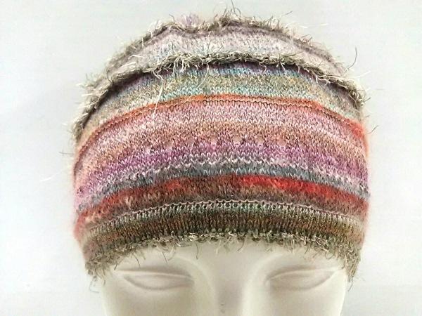 エムアンドキョウコ ニット帽美品  ピンク×マルチ ウール×ナイロン×化学繊維