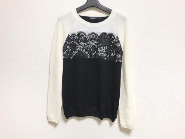 カレンミレン 長袖セーター サイズ4 XL レディース美品  黒×アイボリー×マルチ