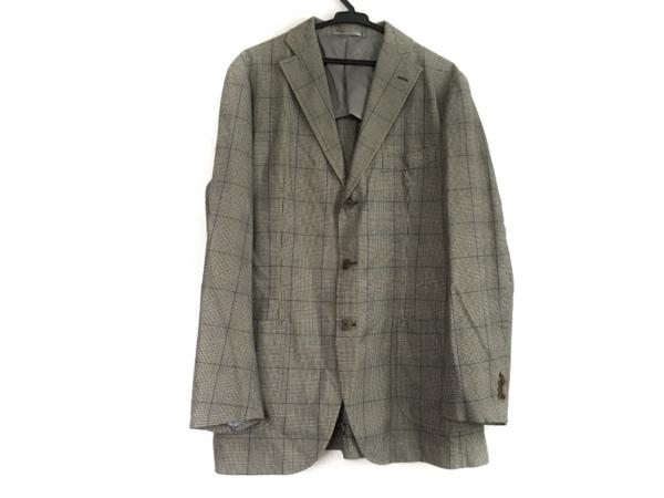トゥモローランド ジャケット サイズ50 メンズ アイボリー×黒×パープル チェック柄