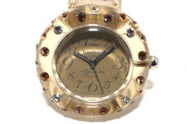 ボンボンウォッチ 腕時計 - レディース 革ベルト/ラインストーンベゼル/裏スケ
