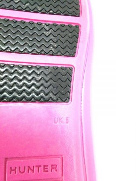 HUNTER(ハンター) シューズ 5 レディース美品  ピンク×黒 レインシューズ ラバー