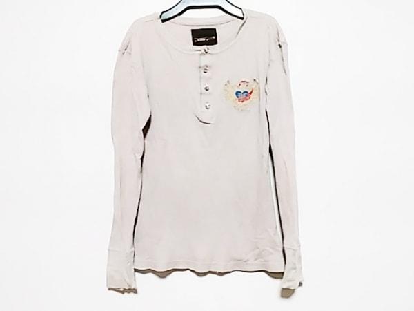 DRESS CAMP(ドレスキャンプ) 長袖Tシャツ レディース ベージュ×グレー×クリア