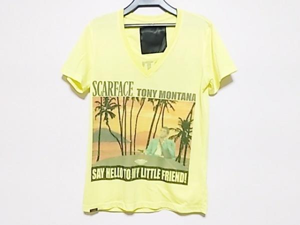 フィリッププレイン 半袖Tシャツ サイズS レディース イエロー×マルチ scareace/蛍光