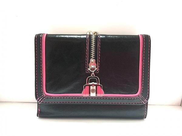 ロベルタ ディ カメリーノ 3つ折り財布美品  黒×ピンク×シルバー がま口