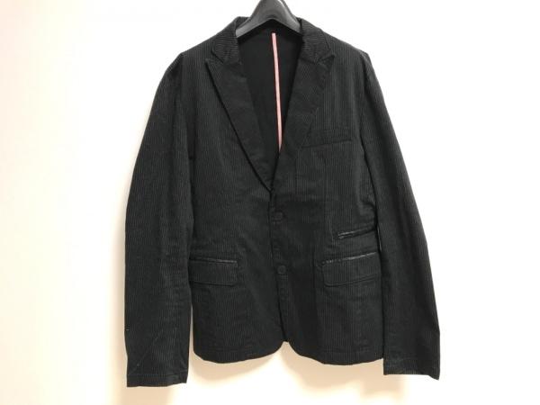 ティーケータケオキクチ ジャケット サイズ3 L メンズ 黒×ライトグレー ストライプ