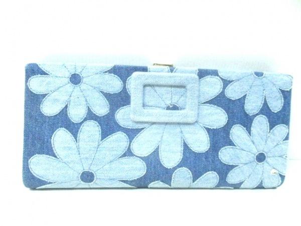 ロジェヴィヴィエ クラッチバッグ ブルー×ライトブルー 花柄/ラインストーン デニム