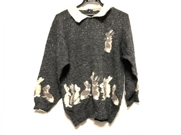 エルミダ 長袖セーター レディース ダークグレー×アイボリー×マルチ うさぎ柄