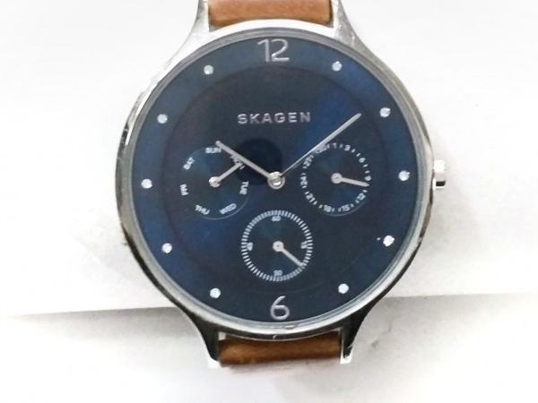 スカーゲン 腕時計 SKW2310 レディース トリプルカレンダー/革ベルト ネイビー
