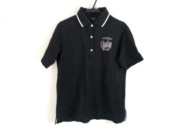 LEONARD(レオナール) 半袖ポロシャツ サイズ42 L レディース美品  黒×白×マルチ