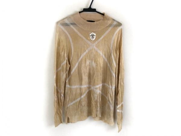 バレンザ 長袖セーター サイズ48 XL レディース ベージュ×アイボリー ハイネック