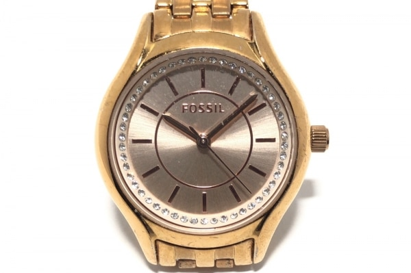 FOSSIL(フォッシル) 腕時計 BQ1591 レディース ラインストーン ゴールド