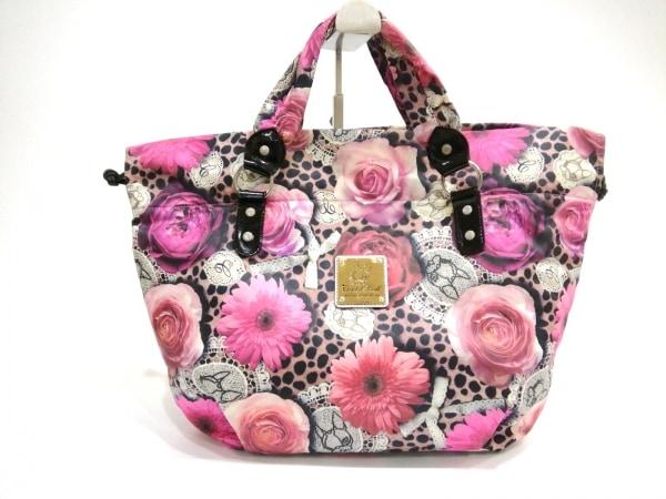 クリスタルボール トートバッグ美品  ピンク×黒×マルチ 花柄 ナイロン×合皮