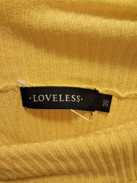 ラブレス 半袖セーター サイズ36 S レディース美品  イエロー タートルネック