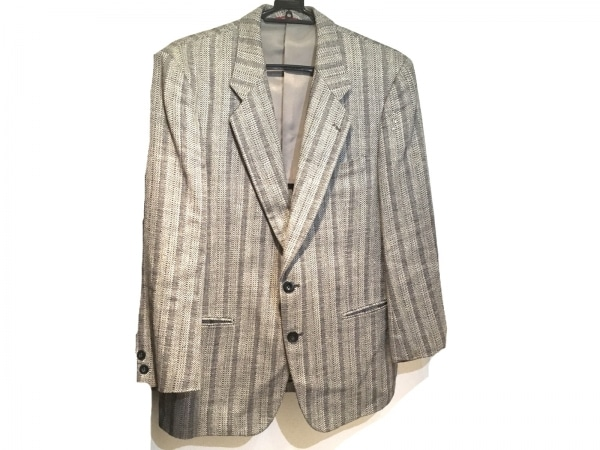 DURBAN(ダーバン) ジャケット メンズ美品  グレー ストライプ/ネーム刺繍