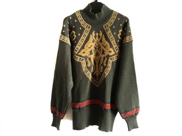 ローレルエスカーダ 長袖セーター サイズ36 S レディース カーキ×ベージュ×マルチ