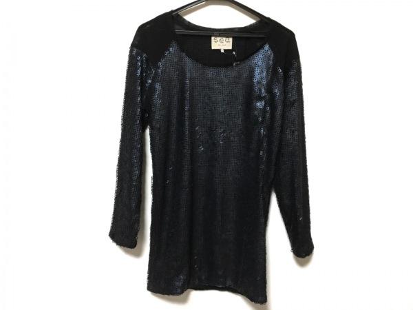 sea(シー) 長袖Tシャツ サイズ0 XS レディース美品  ダークネイビー×黒 スパンコール