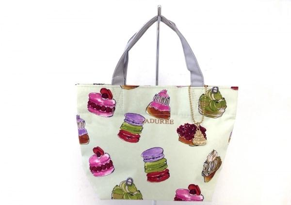 LADUREE(ラデュレ) トートバッグ ライトグリーン×ライトグレー×マルチ ミニ/刺繍