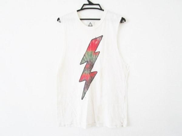 UNIF(ユニフ) ノースリーブTシャツ サイズXS メンズ 白×レッド×マルチ