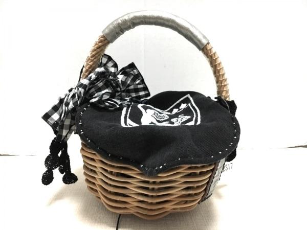 ebagos(エバゴス) ハンドバッグ ライトブラウン×ネイビー×黒 かごバッグ