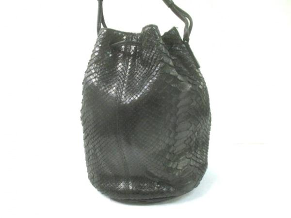 FESOZZI FRANCO(フェソジフランコ) ショルダーバッグ 黒 巾着型 パイソン×レザー