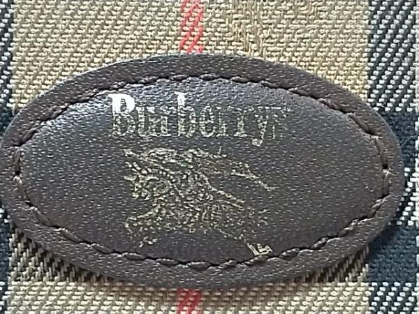 バーバリーズ 2つ折り財布 ベージュ×黒×レッド チェック柄 ジャガード×レザー