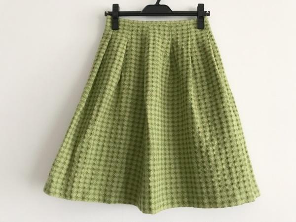 ホコモモラ スカート サイズ40 XL レディース美品  ライトグリーン×グリーン