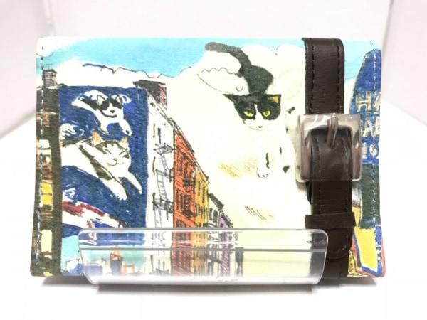 Manhattaner's(マンハッタナーズ) パスケース 白×ダークブラウン×マルチ レザー